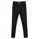 Washed Black Snap Closure High Rise Slim Jeans