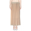 Solid Elastic Waist Maxi Pleated Chiffon Skirt