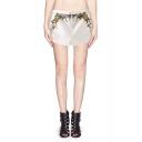 Mid Waist Floral Print Double Slit Wide Leg Shorts