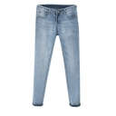 Slim Leg Zipper Fly Jeans in Light Wash