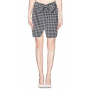 Mono Check Print Midi Skirt with Statement Bow
