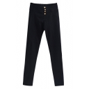 High Waist Skinny Pants with Four Buttons