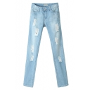 Light Wash Ripped Mid Rise Straight Jeans