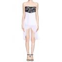 Lace Top Zip Front Chiffon Bottom Asymmetric Hem Dress