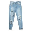 Slim Leg Open Knee Distressed Boyfriend Jean with Pockets