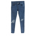 Dark Wash Zipper Fly Pencil Jeans with Open Knee