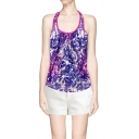 Abstract Print Mesh Net Panel Tank with Keyhole Back