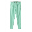 Plain Zipper-fly Skinny Pants with Pockets and Belt