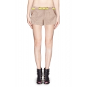 Belted Candy-color Mid Waist Shorts with Pocket Front