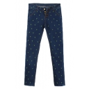 Green Embroidered Cross Four Button Fly Skinny Jeans