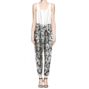 Sleeveless Retro Floral Print Jumpsuit with Pocket
