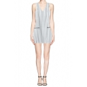 V-Neck Pinstripe Sleeveless Zip Front Shift Dress