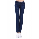 Low Rise Zip Fly Skinny Jeans with Whiskering