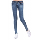 Low Waist Zip Fly Skinny Jeans with Whiskering
