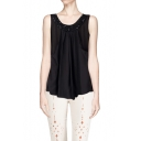 Beaded Detail Round Neck Sleeveless Layered Chiffon Top