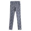 Elastic Waist Vintage Paisley Print Pants in Skinny Fit