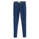 Busted Knee Dark Wash Mid Rise Jeans with Pocket