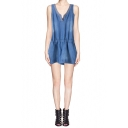 Beaded V-Neck Sleeveless Elastic Waist Denim Romper