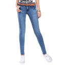 Low Rise Zip Fly Studded Pocket Skinny Jeans