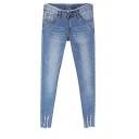 Ripped Cuff Raw Trim Zipper Fly Slim Leg Jeans