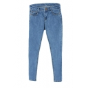 Simple Blue Slim Leg Jeans with Zip Front
