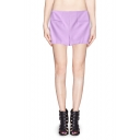 High Waist Zip Side Cotton-blend Shorts with Pocket