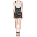Floral Print Elastic Waist Crossback Overall Shorts