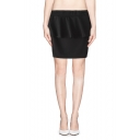 Fashion Solid Layered Mini Skirt with Peplum