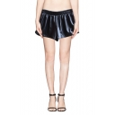 Elastic Waist Leather Look Dolphin Hem Loose Fit Shorts
