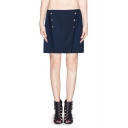 Zip Back A-line Skirt with Studded Detail