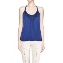 New Style Bead Embellished Crisscross Back Blue Cami