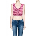 Must-have Button Front Stripe Print Sleeveless Crop Top
