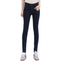 High Rise Zipper Fly Skinny Jeans with Pockets