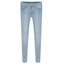 Stone Wash Special Raw Cuffs Slim Style Jeans
