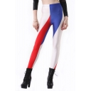 Colorblocked Frag of France Print Full Length Leggings