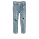 Straight Leg Zip Front Distressed Jeans with Open Knee