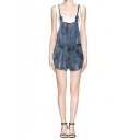 Denim Halter Neck Convertible Romper with Ripped Detail