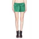 Sweet Candy-color Embellished Waist Double Split Shorts