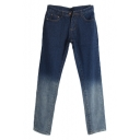 Ombre Zip Fly Skinny Harem Jeans with Pocket