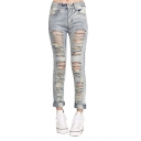 Straight Leg Zip Fly Ladder Distressed Jeans