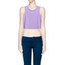 Round Neck Sleeveless Top in Candy Color