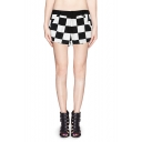 Monochrome Check Print Contrast Waist Pocket Shorts