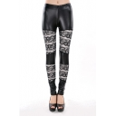 Cotton-blend Elastic Waist Print Leggings in Ankle Length