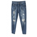 Middle Wash Ripped Harem Jeans with Side Pockets
