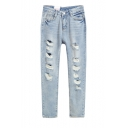 Light Wash Zip Front Distressed Straight Leg Loose Jeans