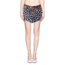 Micro Daisy Print Belted Shorts with Turn Up