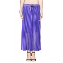 Plain Pleated Column Ankle Skirt with Elastic Waist