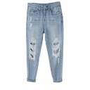 Light Wash Distressed Harem Jeans with with Side Pockets