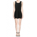 Black Cut Out Back Sleeveless Dress with Knotted Detail