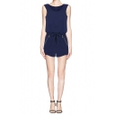 Dark Blue Bow Waist Keyhole Back Zippered Pocket Romper